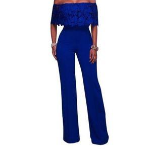 Pants - Lace Blue Jumpsuit